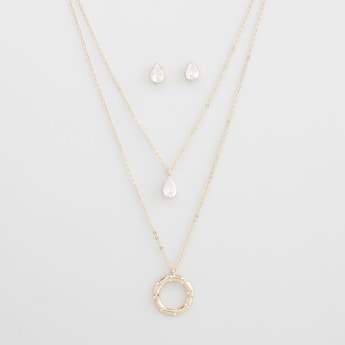 Stone Studded Layered Necklace and Stud Earrings Set