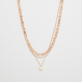 3-Layered Metallic Necklace with Charm Pendant