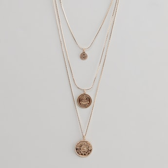 3-Layered Necklace with Coin Charms