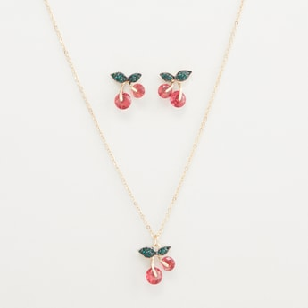 Cherry Pendant Chain with Stud Earrings