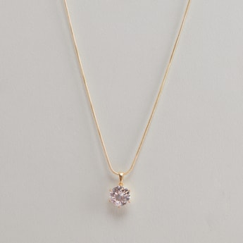 Stud Detail Pendant Necklace with Lobster Clasp