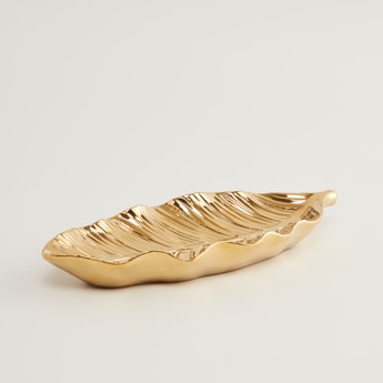 Textured Leaf Shaped Plate - 27.4x11.5x3.4 cms