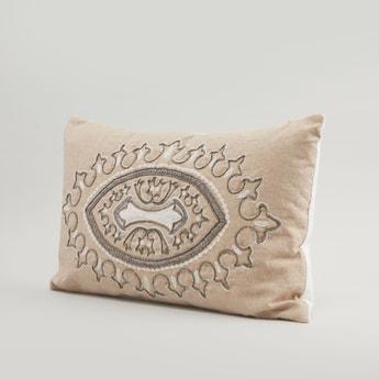 Bead Detail Filled Cushion - 50x30 cms