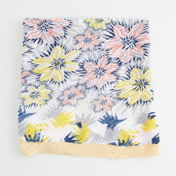Floral Print Knife Pleat Scarf