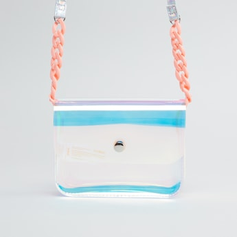 Transparent Crossbody Bag with Braided Sling Strap