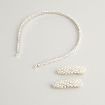 Beaded Headband and Hair Clips Set
