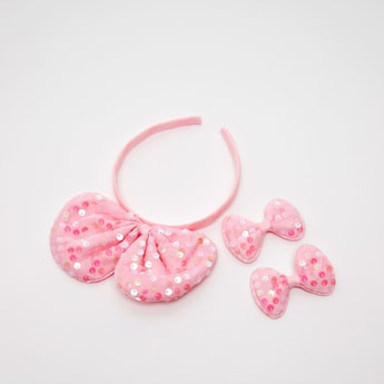 Bow Applique Detail Hair Accessory Set