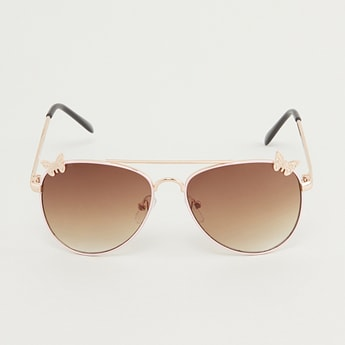 Applique Detail Aviator Sunglasses with Temple Tips