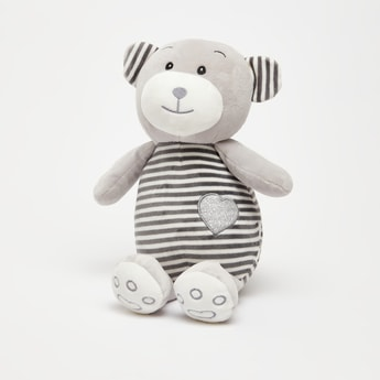 Striped Bear Plush Toy with Heart Embroidery