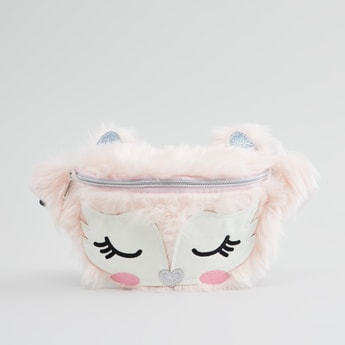 Plush Detail Fanny Pack with Zip Closure