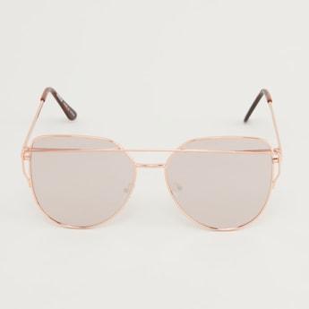 Full Rim Metallic Sunglasses with Nose Pads