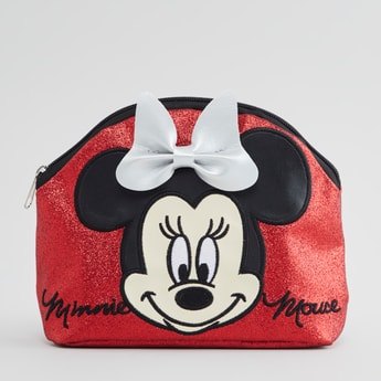Minnie Mouse Textured Pouch with Bow Applique Detail