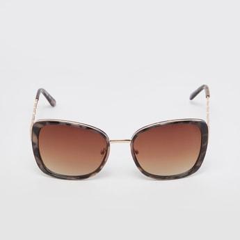 Printed Full Rim Cat Eye Sunglasses with Nose Pads