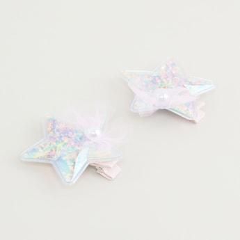 Set of 2 - Star Applique Hairpins
