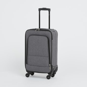 Textured Trolley Suitcase with Retractable Handles