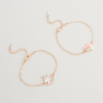 Set of 2 - Applique Detail Bracelets with Lobster Clasp