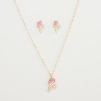 Icecream Shaped Stone Studded Pendant Chain and Stud Earrings Set