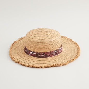 Woven Textured Hat with Printed Band