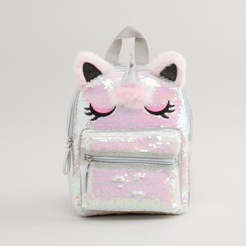 Sequin Detail Unicorn Backpack with Zip Closure and Adjustable Straps