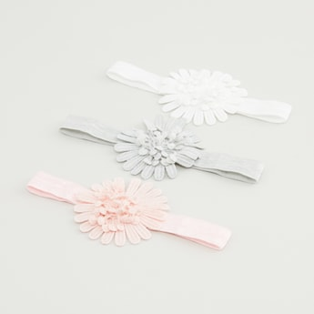 Set of 3 - Floral Applique Hair Band