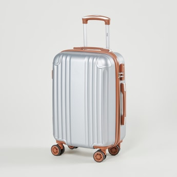 Textured Hard Case Luggage with Retractable Handles and Caster Wheels - 36.5x23x55 cms