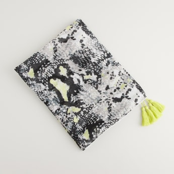 Printed Scarf with Tassels