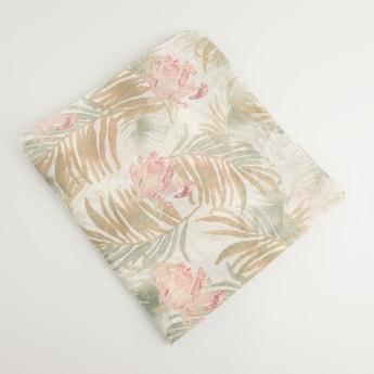 Floral Print Rectangular Embellished Scarf