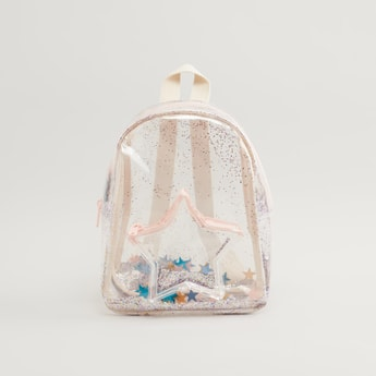 Glitter Detail Backpack with Zip Closure and Adjustable Straps