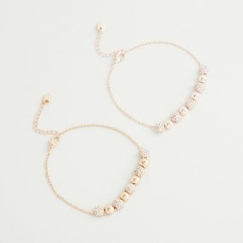 Set of 2 - Stone Studded Drawstring Bracelet