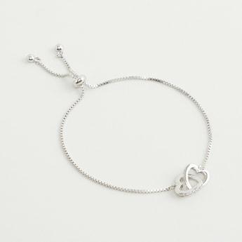 Drawstring Bracelet with Heart Pendant