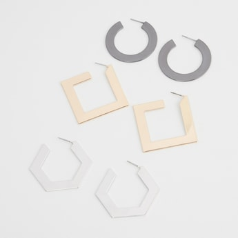 Set of 3 - Assorted Metal Earrings