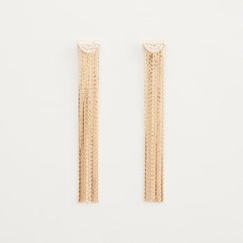 Studded Dangling Earrings with Fringe Detail and Pushback Closure