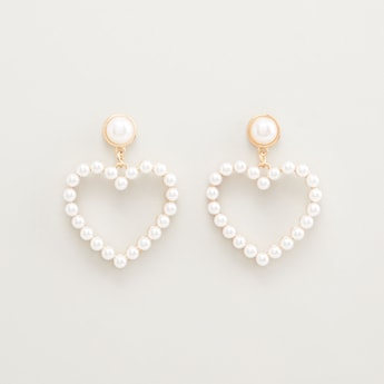 Pearl Detail Dangling Earrings with Pushback Closure