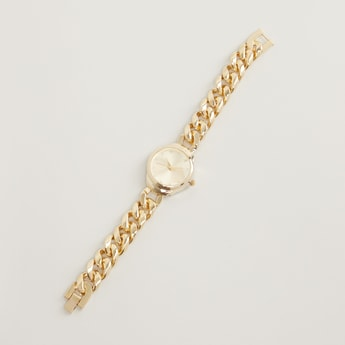 Round Dial Analog Watch with Foldover Clasp