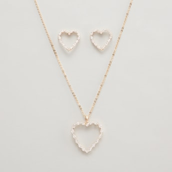 Embellished Heart Shaped Earrings and Pendant Necklace Set