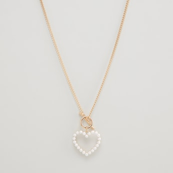 Embellished Long Necklace with Heart Shaped Pendant