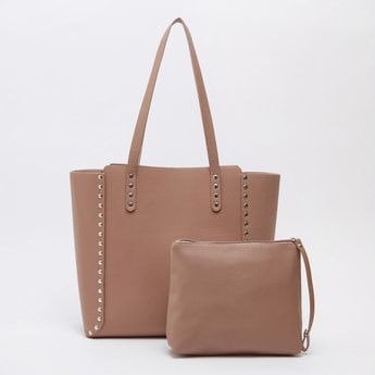 Textured Tote Bag with Detachable Pouch