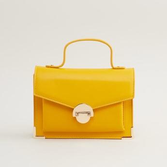 Plain Crossbody Bag with Metallic Chain