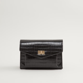 Textured Crossbody Bag with Twist Lock Closure