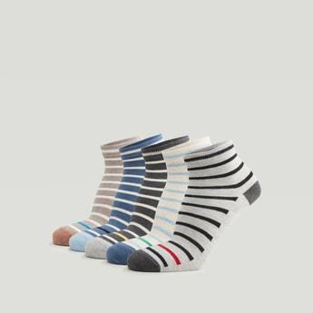 Set of 5 - Striped Ankle Length Socks with Cuffed Hem