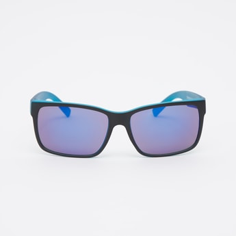 Full Rim Rectangular Sunglasses with Nose Pads and Wide Temples