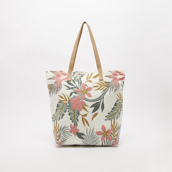 Tropical Leaf Print Canvas Shopper Bag