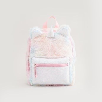 Plush Unicorn Backpack with Zip Closure and Adjustable Straps