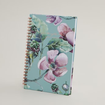 Spiral Notebook with Floral Print Cover