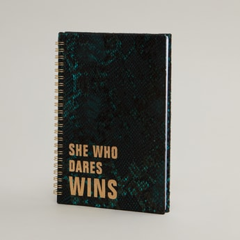 Notebook with Animal Textured and Slogan Print Cover