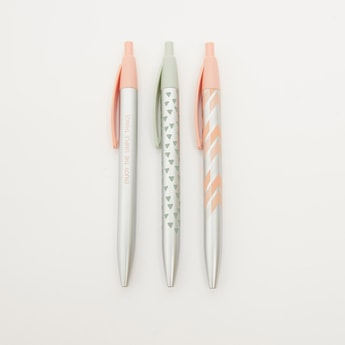 Set of 3 - Printed Ball Pen with Push Button