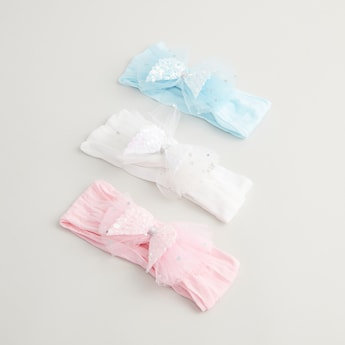 Set of 3 - Sequin Embellished Hairband with Mesh Bow Detail