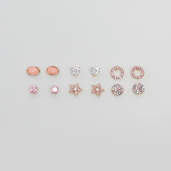 Set of 6 - Embellished Stud Earrings with Pushback Closure