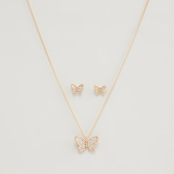 Studded Butterfly Necklace and Earrings Set