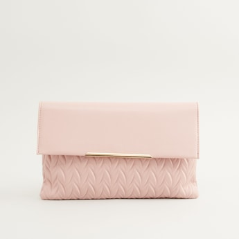 Textured Clutch with Magnetic Button Closure